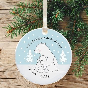 1st Christmas as an Aunty Ceramic Keepsake Decoration - Polar Bear Design